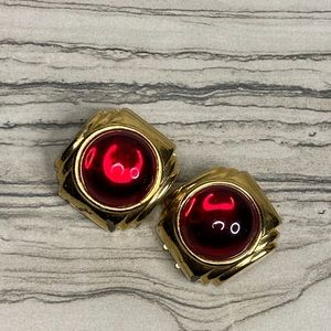 Vintage Paolo Gucci Red Cabochon Earrings
